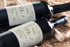 personalised wine label for weddings - Table number vintage floral design