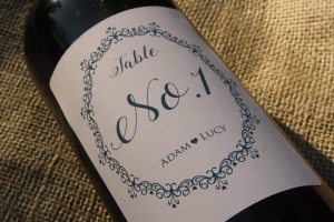 personalised wine label for weddings - Table number lace design