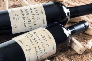 Personalised wine label for love or Valentines Day
