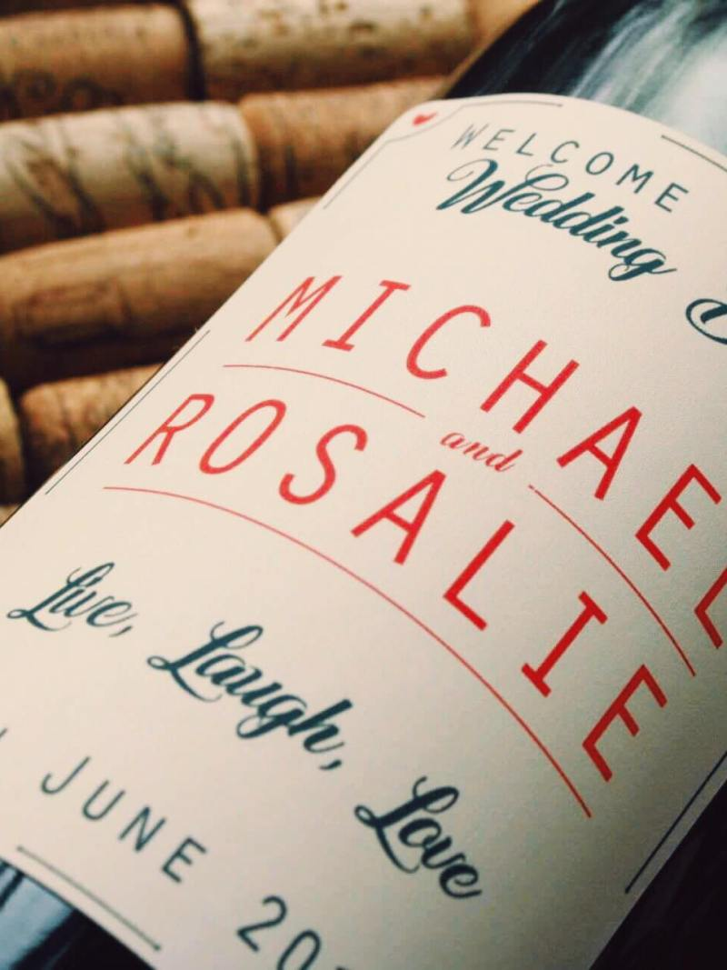 personalised wine label for weddings - Bride and groom classy design