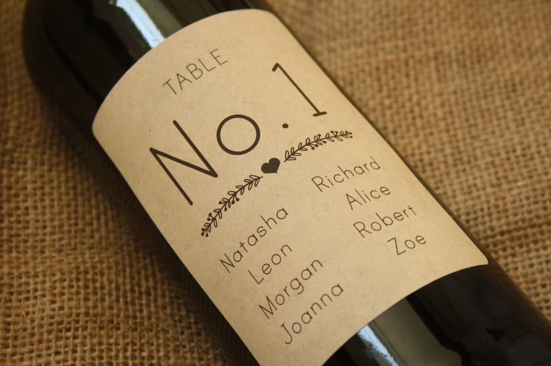 Table Number Wine