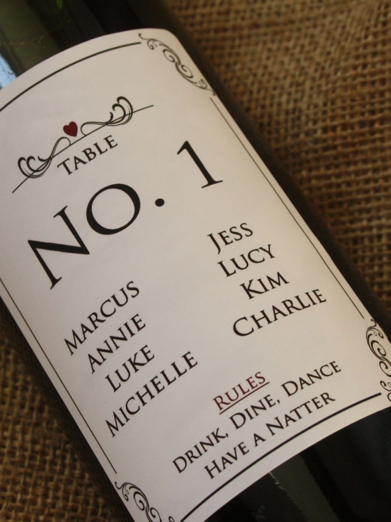 personalised wine label for weddings - seating plan design