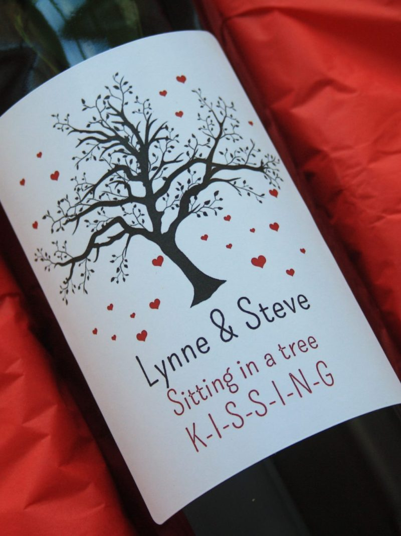 Valentines Personalised wine