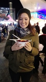 Christmas Market at Potsdamer Platz with Dampfnudel (a sweet bread covered with vanilla custard and fresh berries yummmmm!)