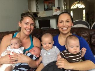 My twin mommy friend Kayla with her babies Liam and Cara (we both are expecting our 3rd this year)