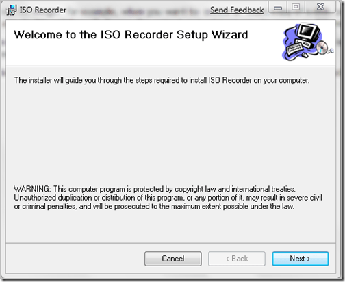 ISO recorder wizard