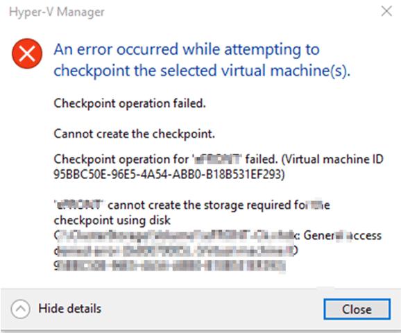 Checkpoint fails access denied