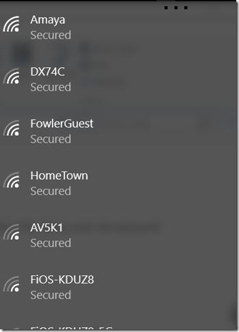 Windows 10 list of wireless access points