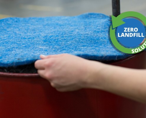 oil absorbent drum top liner with zero waste logo
