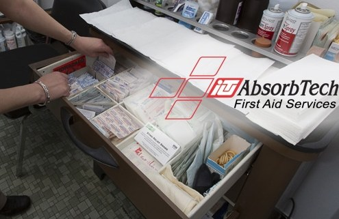 First Aid representative inspecting first aid supplies at a company