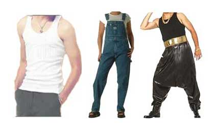 Wifebeater, Suspenders and Parachuttte Pants