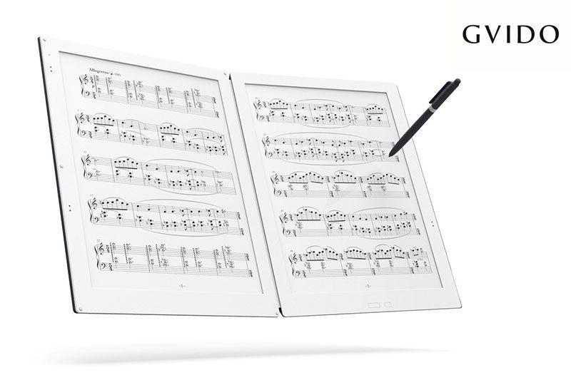 GVIDO dispositivo reproductor de partituras de tinta electrónica