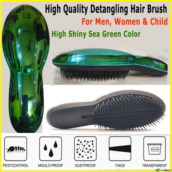 High Quality Green Shiny Detangling Hair Brush - Tangles Pain Free & Removes Knots - For Kids & Adults - Wet and Dry Hair Brush Comb