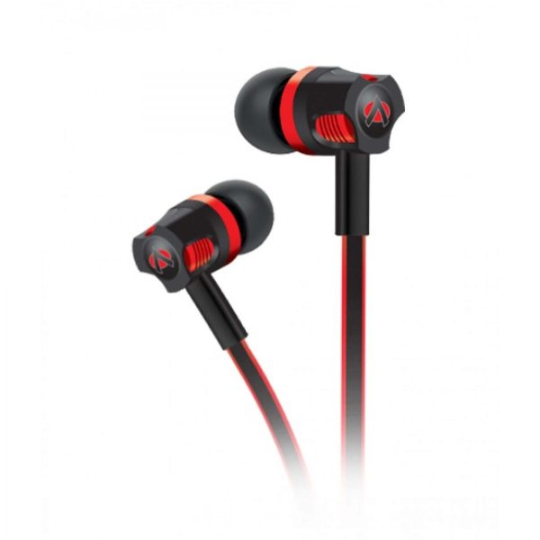 Audionic Black & Red Flat Wire Earphone With Extra Bass - T-50