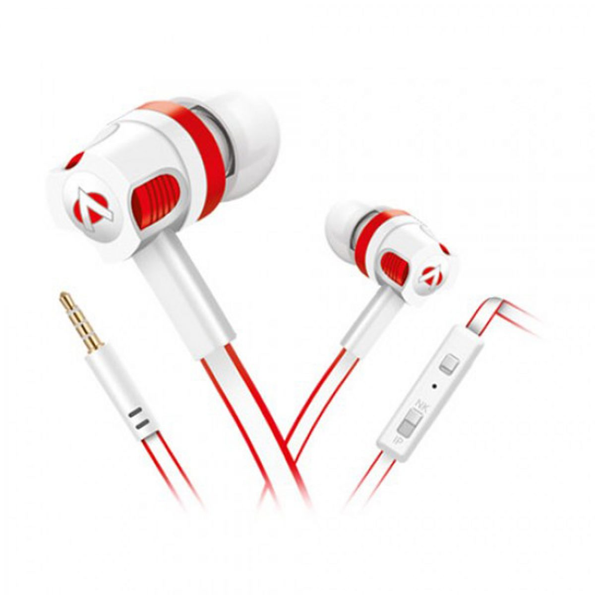 Audionic White & Red Flate Wire Earphone With Extra Bass - T-50