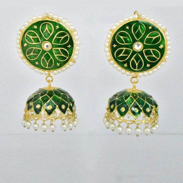Meenakari Flower Design Green Shining Earrings JAR13 - VP25J0