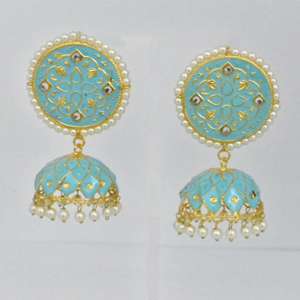 Meenakari Circle Syle Pink Shining Earrings JAR13 - VP25P0