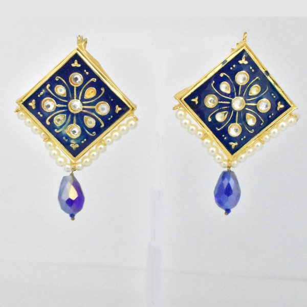 Meenakari Rhombus Style Dark Blue Shining Earrings JAR14 - VP1S00