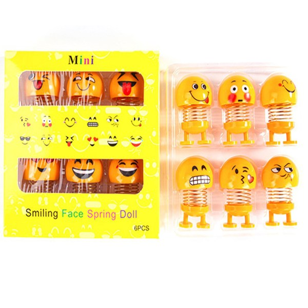 6 Pcs Set Cute Mini Shaking Head Dolls Funny Smile Face Springs-2OH00