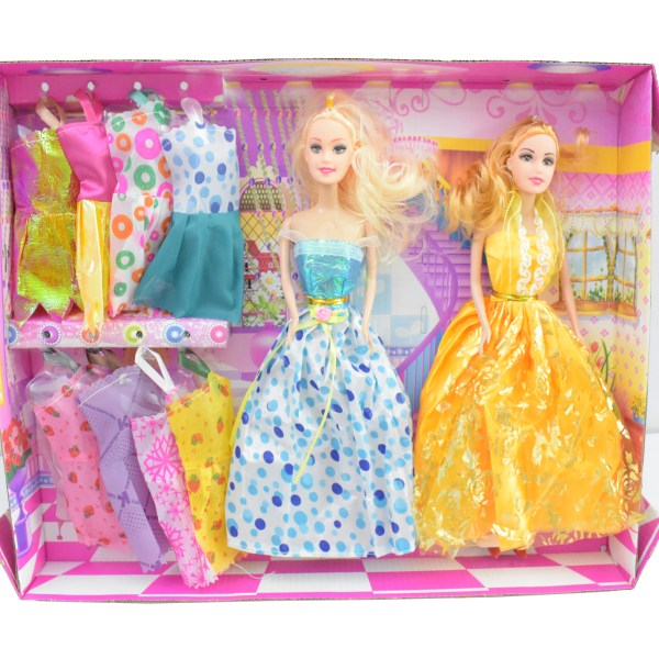 Beautiful Lovely Little Princess Doll Toy Set 2 Dolls, 8 Suits-ZS595
