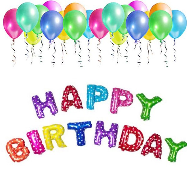 Birthday Party Package: Happy Birthday Foil Balloon, 25 Latex Balloons