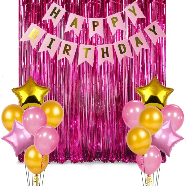 Birthday Party Package: 10 pink & golden latex balloons, 4 pink & golden star foil helium balloons, 1 happy birthday banner, 1 foil curtain