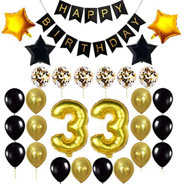 Birthday Party Package: 100 Latex Balloons, 4 star foil Balloons, 6 confetti balloons, gold number 33 foil balloon, 1 happy birthday banner
