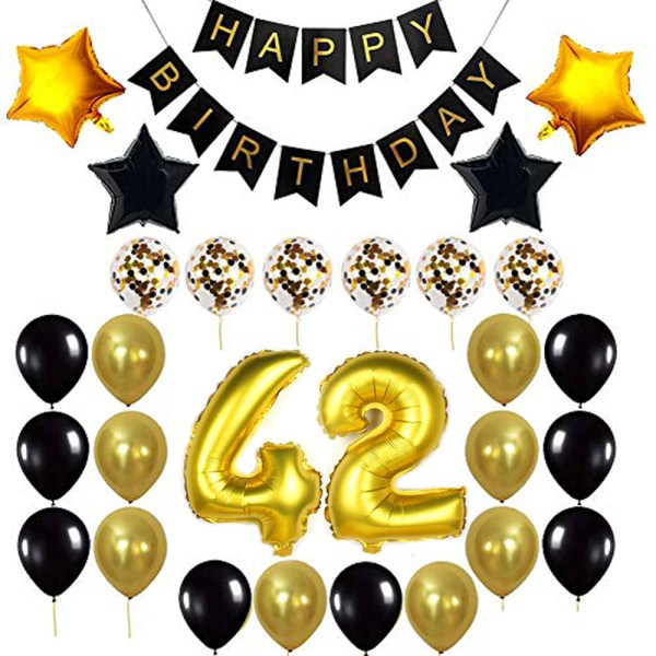 Birthday Party Package: 100 Latex Balloons, 4 star foil Balloons, 6 confetti balloons, gold number 42 foil balloon, 1 happy birthday banner