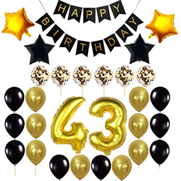 Birthday Party Package: 100 Latex Balloons, 4 star foil Balloons, 6 confetti balloons, gold number 43 foil balloon, 1 happy birthday banner