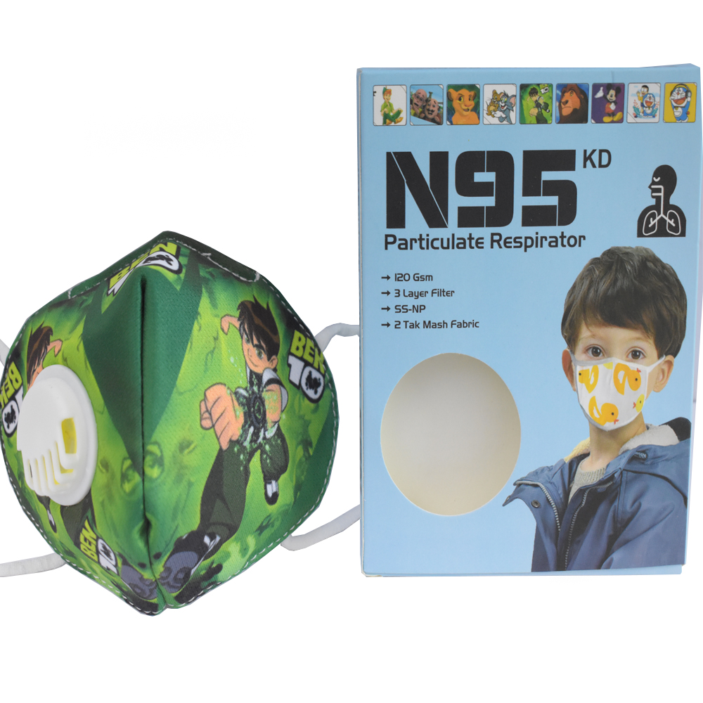 3 to 8 Years Ben 10 Cartoon Character N95 Mask for Kids, boys & Girls Fm11