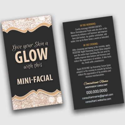 give it a glow card, mini facial card, microdermabrasion, premium skin care instruction card, do it yourself template, business card design templates