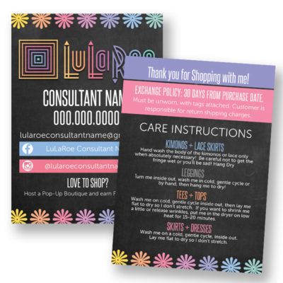 lularoe care instruction chalkboard background