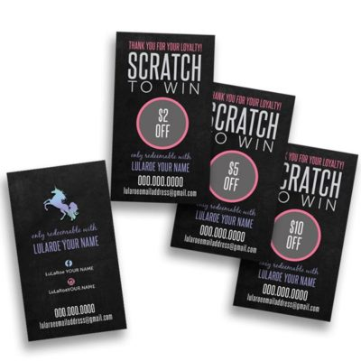 lularoe scratch cards great for popup boutique and events
