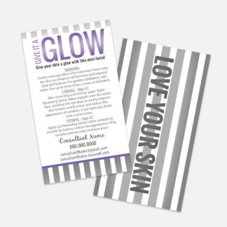 mini facial instruction card that can be customized to fit your business