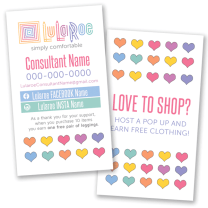 lularoe business card hearts home office approved colors and fonts