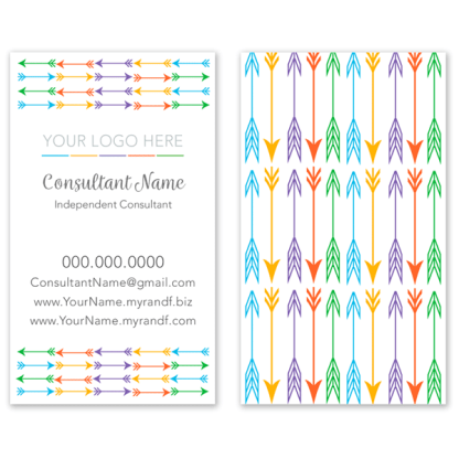 rodan and fields business card with arrow pattern design