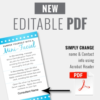 rodan fields editable mini facial template, rodan fields glow card template, rodan fields business card