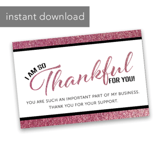 Business Thank You Card 4 X 6 Rose Gold