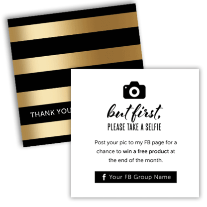 square cards, take a selfie, thank you card