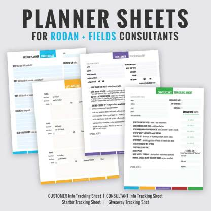 rodan and fields business consultant tracking sheet grow your business, Rodan fields planner sheets,