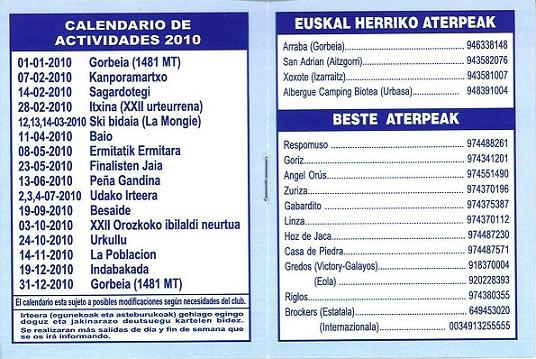 Calendario Actividades 2010