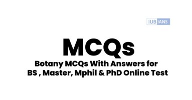 Botany MCQs With Answers for BS , Master, Mphil & PhD Online Test