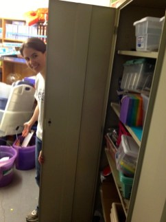 Meredith checking out the old cabinet in the CE Closet.