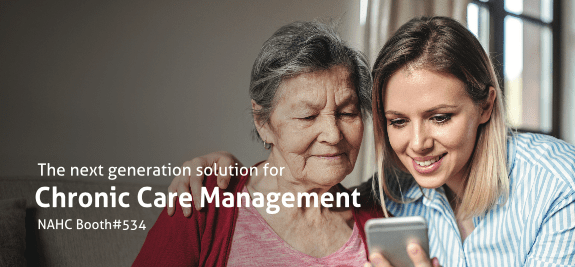 An elderly woman and a young blonde woman are looking at a smartphone together. There is text on top of the image which reads: The next generation solution for Chronic Care Management NAHC Booth#534