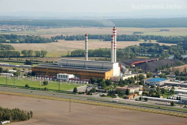Letecký pohled na Elektrárnu Opatovice.