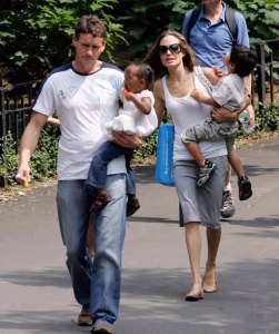 August 25, 2007: Angelina Jolie takes her three adopted children to Central Park in New York City this afternoon. Jolie treated the kids to ice cream treats and a ride on the carousel. Pictured here with Jolie are Zahara Jolie-Pitt and Pax Jolie-Pitt. Credit: INFphoto.com Ref.: infusny-04/24/38