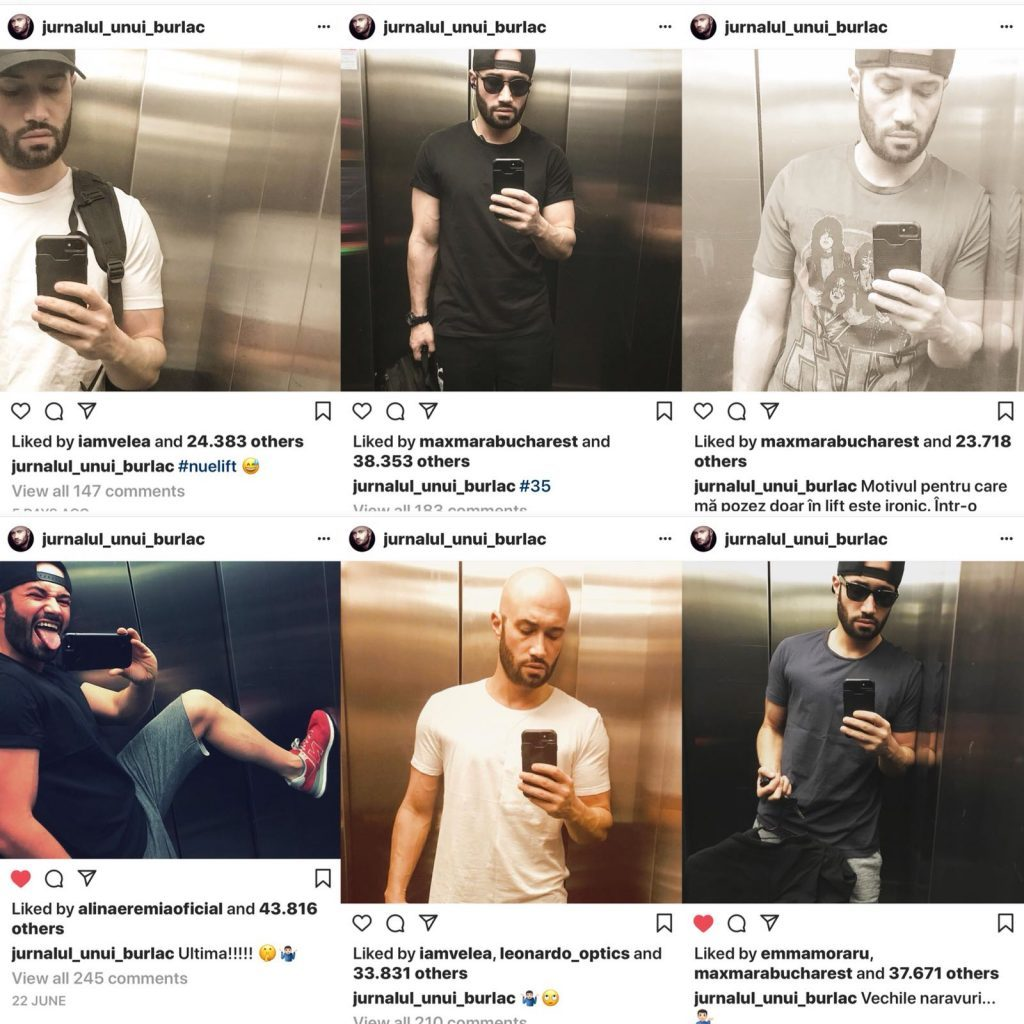 Mihai Bendeac si-a facut poze in lift, imbracat in diferite tinute