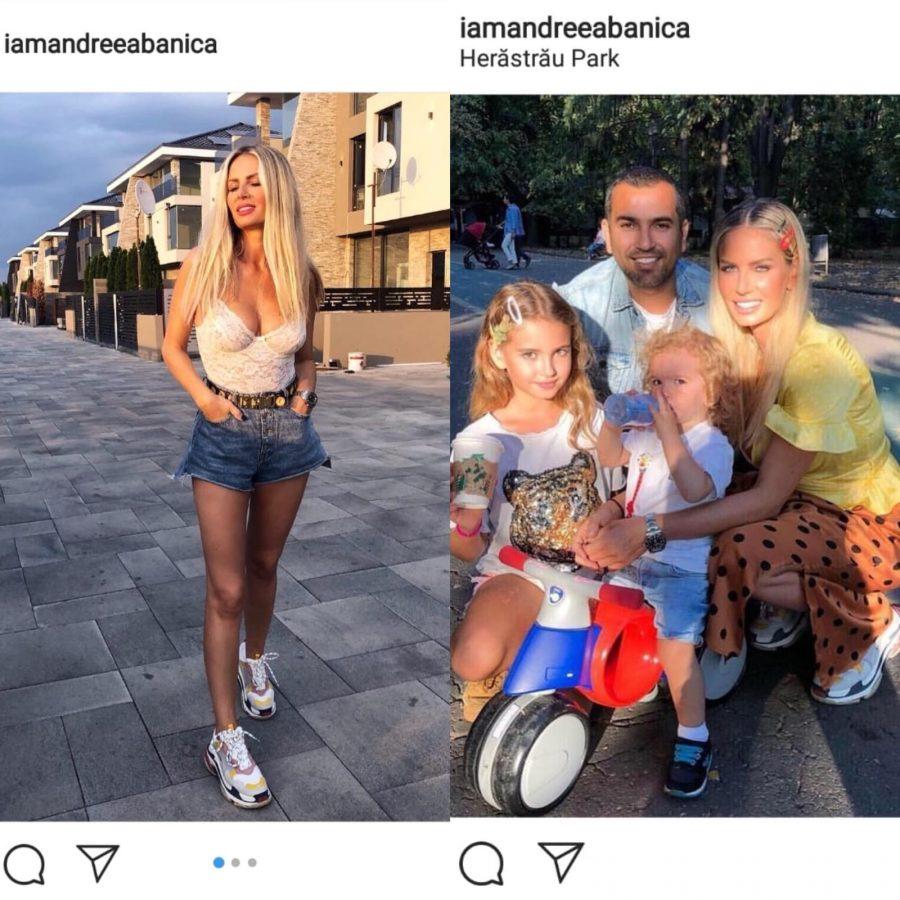 Andreea Bănică s-a pozat alături de soțul ei și cei doi copii