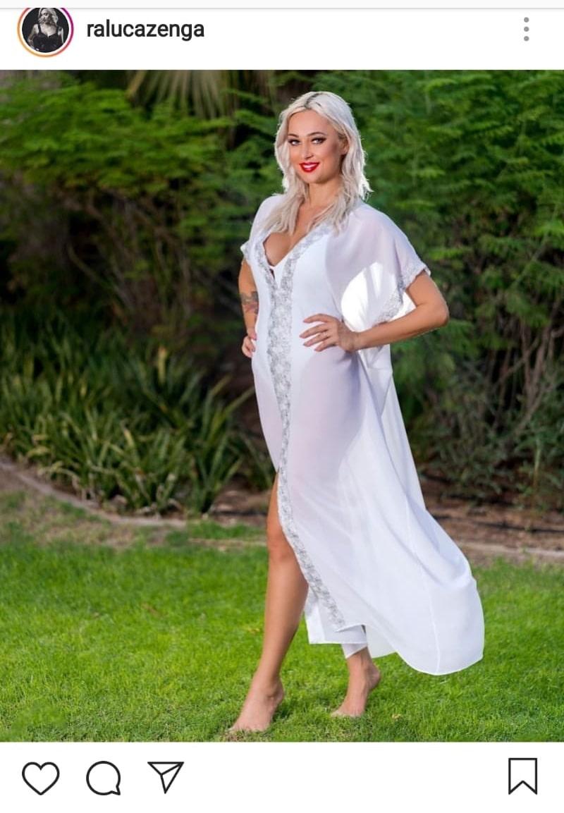 Raluca Zenga, într-o ținută albă