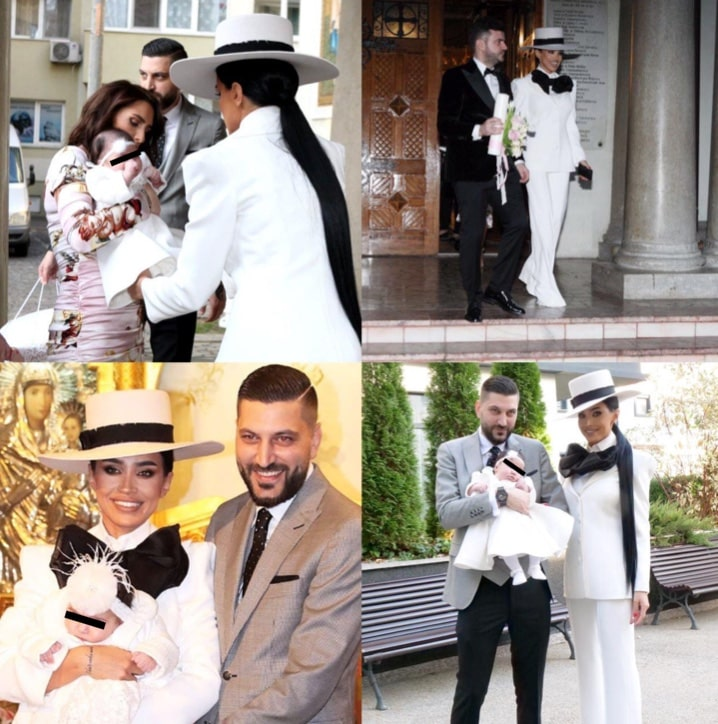 Adelina Pestrițu a îmbrăcat un costum alb la botezul fetiței ei